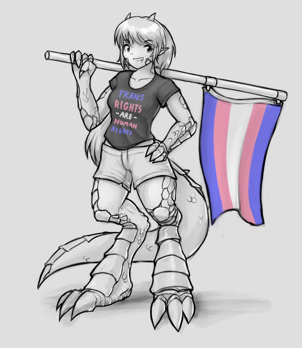 Kei in a Trans Rights are Human Rights shirt
